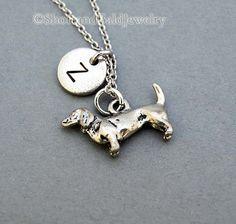 Daschund necklace Dachshund Doxie initial by ShortandBaldJewelry, $19.75