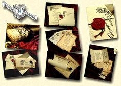 Parchment Old English or Renaissance themed wedding invitations