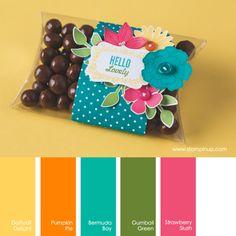 Daffodil Delight, Pumpkin Pie, Bermuda Bay, Gumball Green, Strawberry Slush #stampinupcolorcombos