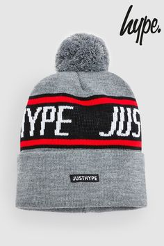 489eac97a19 Mens Hype. Grey Sporting Bobble Hat - Grey