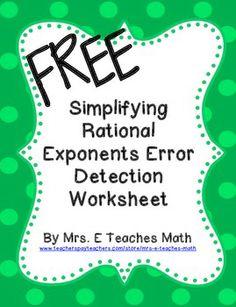 Simplifying Rational Exponents Error Detection Worksheet