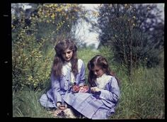 Etheldreda Laing's autochrome photos of her daughters in the garden ca 1910-1914