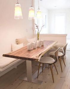 live edge table banquette in white kitchen. Perfection!