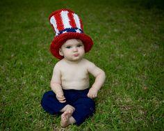 Uncle Sam Baby Hat Crochet Pattern Fourth of July 4 4th Toboggan Tophat  Beanie Kids Accessories 8bda0adda634