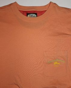 TOMMY BAHAMA LARGE SHORT SLEEVE MENS CREW NECK T SHIRT Pocket Peach/Orange L #TommyBahama #BasicTee