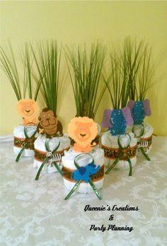 Jungle Theme Mini Diaper Cake Centerpieces