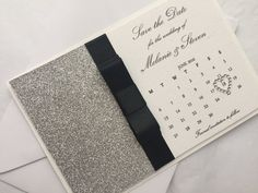 Handmade Glitter Wedding Save the Date Calendar Card, Silver Save the Date, Personalised Save the Date