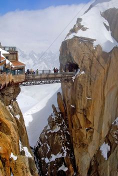 AIGUILLE DU MIDI BRIDGE Mont Blanc massif, French Alps, France Acrophobics beware: Not only does this overpass sit more than feet above sea level, but it requires a cable car ride to climb the vertical feet up to the access point on the mountain. The Places Youll Go, Places To See, Beautiful World, Beautiful Places, Wonderful Places, Amazing Places, St Gervais, Scary Bridges, Chamonix Mont Blanc