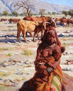 Artist Scott Burdick (American: - The Himba Way Street Portrait, Portrait Art, Portraits, Classical Realism, Classical Art, Africa Art, Black Artwork, African Tribes, Traditional Paintings