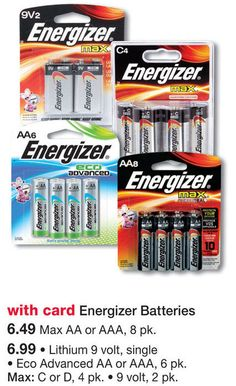 Here's a great deal on Energizer batteries at Walgreens...