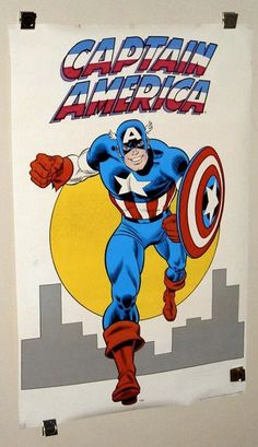 Rare vintage original 1974/1985 Marvel Comics Captain America 34 x 22 comic book poster by John Romita Sr:1970's/1980's Marvelmania/Avengers. SEE 1000's MORE RARE VINTAGE MARVEL AND DC COMICS SUPERHERO POSTERS AND COMIC BOOK ART PAGES FOR SALE AT SUPERVATOR.COM