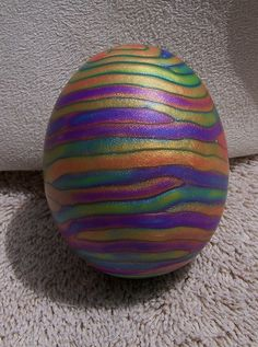 Gorgeous sparkly Easter egg made with extruded polymer clay, side B by jembox, via Flickr