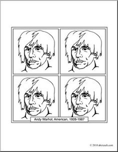 Clip Art: Artists: Andy Warhol (coloring page) I abcteach.com - large image