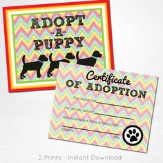 Adopt a Puppy and Certificate of Adoption Rainbow Black Lab Dog Puppy Birthday…