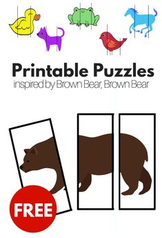 brown bear brown bear inspired printable puzzles for preschool prek free printable puzzles