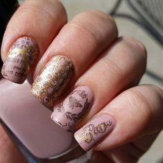 Beautiful creation by @polishedcpa on instragram, using Nail Stamping Plate MM18 from www.messymansion.com.au