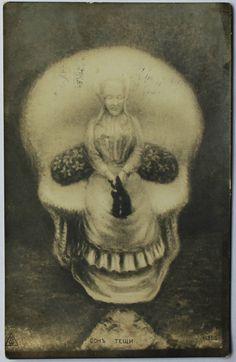 Antique Skull. Optical Illusion Postcard