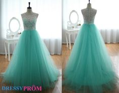 White Lace Prom/Evening Dresses On Sale-Lace Tulle Bridesmaid Dress Prom Dress Blue Tulle Ball Gown Dresses 8110