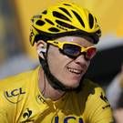 Christopher Froome of Britain, wearing the overall leader's yellow jersey, flashes a thumbs up and a big smile as crosses the finish of the 20th stage of the Tour de France cycling race over 125 kilometers (78.1 miles) with start in in Annecy and finish in Annecy-Semnoz, France, Saturday July 20 2013. (AP Photo/Laurent Rebours)  Day 14 Paul Kimmage's Video Diary  #indo #kimmage #tourdefrance #cycling