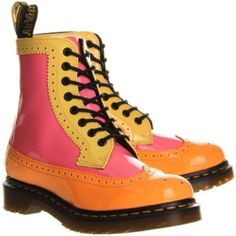 NWOT Doc Marten 'Harrie Brogue' Boot These boots are amazing and definitely a hard to find one of a kind style. They're a women's size 10 but I feel they run a tad small. So maybe close to a 9.5. They're a patent leather orange, pink and yellow color. NWOT Photo Credit: Polyvore.com Dr. Martens Shoes Lace Up Boots