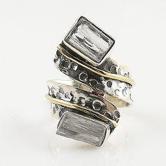 White Quartz Rough Two Tone Sterling Silver Ring - keja jewelry