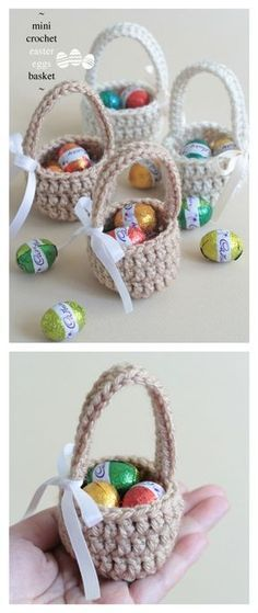Crochet Mini Easter Eggs Basket Free Pattern #CrochetEaster