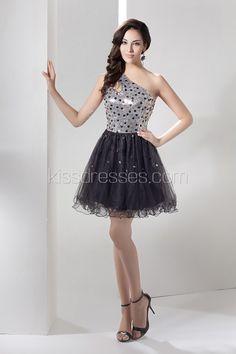 Glowing One Shoulder Paillette Short/Mini Lace Cocktail Dress