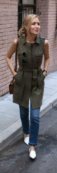 long army green utility vest, frayed hem flare leg cropped jeans, white pointed toe flats, rose gold corner phone protector (nicholas kirkwood, olivia palermo chelsea28, corners4, asos, ray-ban, nars)