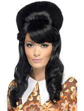 Black 60s Brigitte Bouffant Beehive Costume Wig
