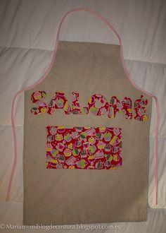 Delantal para la hija de una amiga. Hecho con lino y tela de patchwork con dibujo de cupcakes