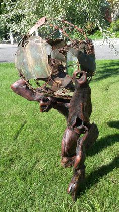 Atlas Driftwood, Garden Art, Garden Sculpture, Outdoor Decor, Crafts, Home Decor, Homemade Home Decor, Manualidades, Drift Wood