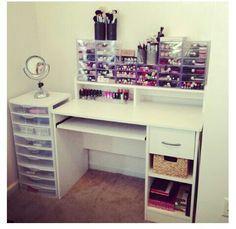 inspiration only, no tut/// computer desk converted to makeup vanity/storage