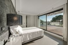 Charming Modern Residence with Private Pool: Magnificent Master Bedroom Interior Of Vilamoura House With Chic Gray Big Cat Printed Wallpaper. House Design, Contemporary Bedroom Decor, House, Home, Interior Architecture Design, Contemporary Interior, Modern Interior Design, Modern Bedroom, Interior Design Living Room