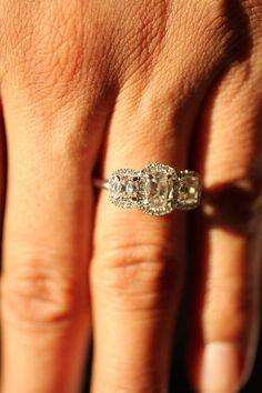 White Gold Diamond Rings | Cushion Cut Diamond | Three Stone Rings