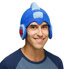 SOLD- This Mega Man Crochet Hat has Rock's style paired with the warm fuzziness of a winter hat.