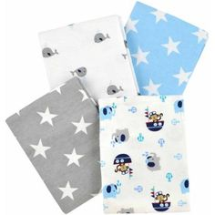 Garanimals Boating Buddies 4-Pack Flannel Receiving Blankets - Walmart.com$7