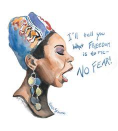Nina Simone, portrait and inspiring quote