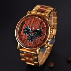 Gold Wood Watch Men's Luxury Brand Wooden Watches Date Display Watch Man Business Watch Lux Mens Boy Gift Quartz Wood Watch Gift Box For Him Groomsmen Watches, Wooden Man, Watch Engraving, Casual Watches, Luxury Watches, Men's Watches, Gold Watch, Watch Bands, Chronograph