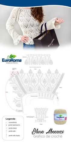 Belíssima blusa com ponto abacaxi utilizando o euroroma fiore na cor cru 100 a moda ao seu alcance Black Crochet Dress, Crochet Jacket, Crochet Blouse, Knit Dress, Modern Crochet Patterns, Crochet Patterns For Beginners, Crochet Designs, Crochet Mittens, Crochet Stitches