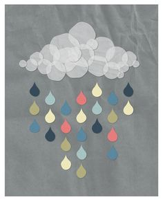 Colorful Rain Cloud // Modern Poster 8x10 DIY by modBeeDesign