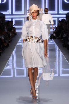 Dior S/S 2012 Collection / Look N° 6 / READY-TO-WEAR / Silk gazar blouse embroidered with opalin and pearly patches.