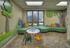 Children's play area in our Dayton Hospice House. The room features many great toys and a tv, along with a breathtaking mural painted by one of our talented volunteers!
