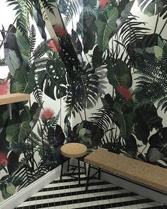 Koa coffee with the bespoke wallpaper created for it by illustrator Agata Wierzbicka * Wonderwall * The Inner Interiorista