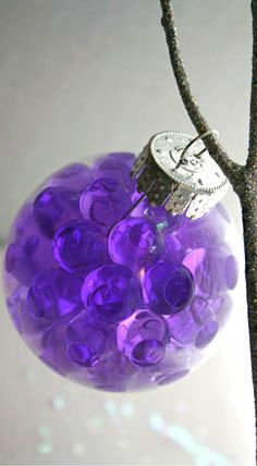 DIY ●   Ornaments ● water beads in glass ornament - you can find these beads at the dollar store