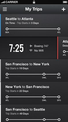 """Flight Manager. Having been a frequent multi-city business traveler in my past, I think this could be really useful. The interface is clean but not austere (a trend I personally hate). The highlight colors are subtle enough but against the dark background provide visual anchor points. The use of """"Trip Starts in 18 Days"""" could be an issue. Travelers work on calendars and absolute dates (the 3rd, November 22nd) so the relative dates would require either a secondary calendar or on the spot…"""