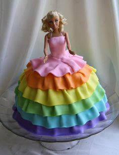 Barbie Cake with rainbow ruffle dress