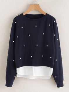 Cheap women sweatshirt, Buy Quality sweatshirt women directly from China pullover long Suppliers: SHEIN Sweatshirt Woman Pearl Beading 2 In 1 Sweatshirt Autumn Women Sweatshirt Black Long Sleeve Elegant Pullovers Hoodie Sweatshirts, Pullover Sweaters, Hooded Sweater, Shirt Sleeves, Full Sleeves, Long Sleeve Tops, Clothes For Women, How To Wear, Polyester Spandex