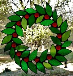 Stained+Glass+Christmas+Wreath+by+SingularArt+on+Etsy,+$85.00