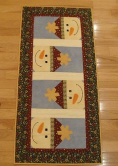Cute snowman table runner from a kit