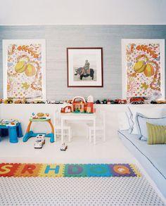 love the car shelf across the wall; walls: Amalfi Silk in Terrino Blue by Phillip Jeffries - Hilary Thomas Design